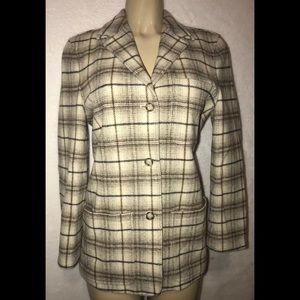 Giorgio Armani Jean Wool Cream Plaid Blazer Jacket